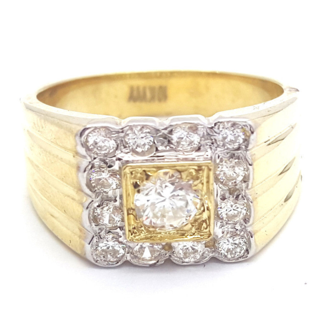 10k Yellow Gold Madrid Round Shape Ring Cubic Zirconia Men Ring - Solid Gold Online