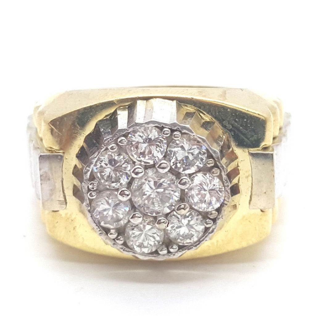 10k Yellow Gold Barcelona Round Shape Cubic Zirconia Men Ring - Solid Gold Online