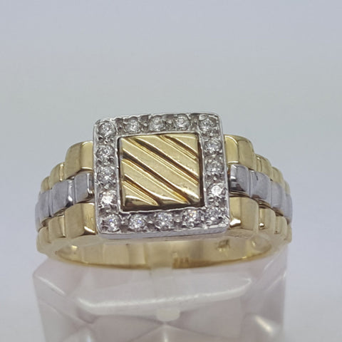 10k Yellow Gold Round Shape Murcia Cubic Zirconia Men Ring - Solid Gold Online