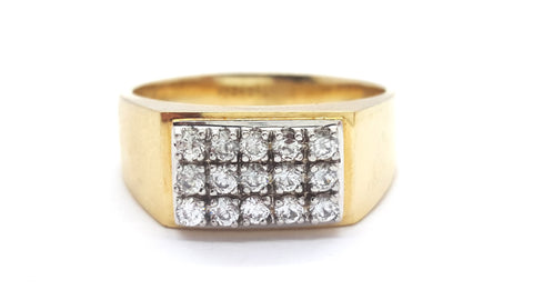 10k Yellow Gold Bilbao Round Shape Cubic Zirconia Men Ring - Solid Gold Online