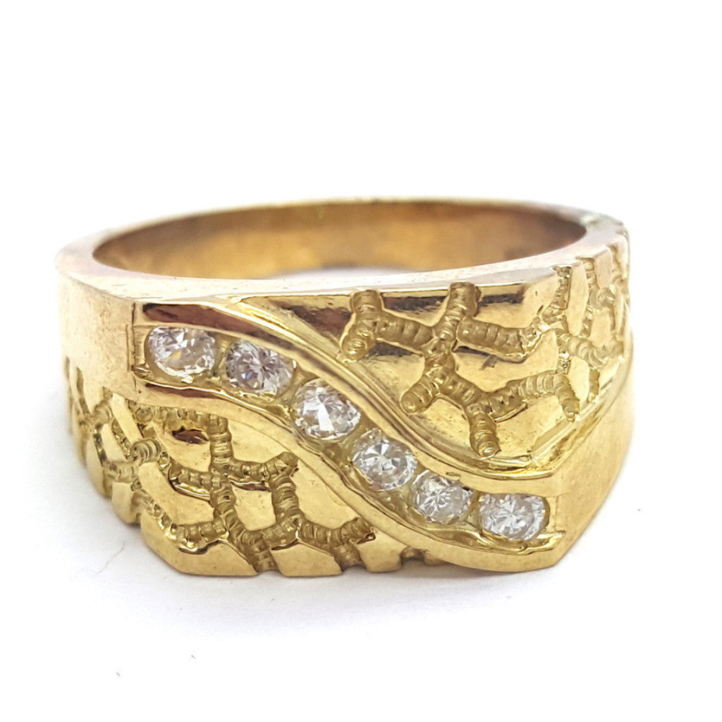 10k Yellow Gold Oviedo Round Shape Cubic Zirconia Men Ring - Solid Gold Online