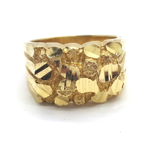 10k Yellow Gold Cartagena Round Shape Ring Cubic Zirconia Men Ring - Solid Gold Online