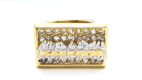 10k Yellow Gold Burgos Ring Cubic Zirconia Men Ring - Solid Gold Online