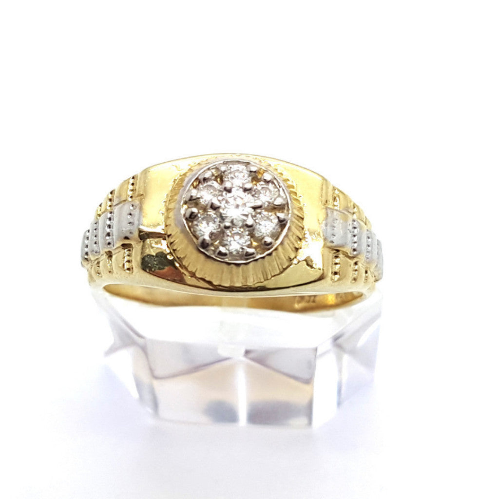 10k Yellow Gold Round Shape Badajoz Cubic Zirconia Men Ring - Solid Gold Online