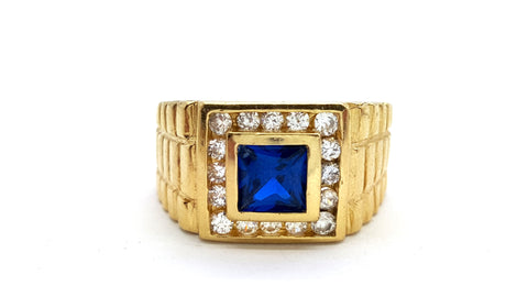 10k Yellow Gold Salamanca Round Shape Cubic Zirconia Men Ring - Solid Gold Online