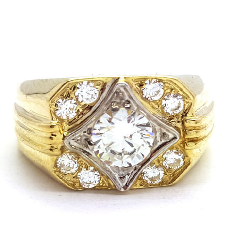 10k Yellow Gold Marbella Round Shape Cubic Zirconia Men Ring - Solid Gold Online