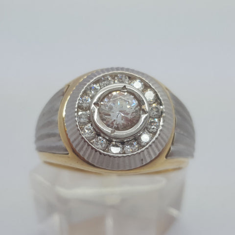 10k Yellow Gold Round Shape Bari Cubic Zirconia Men Ring - Solid Gold Online