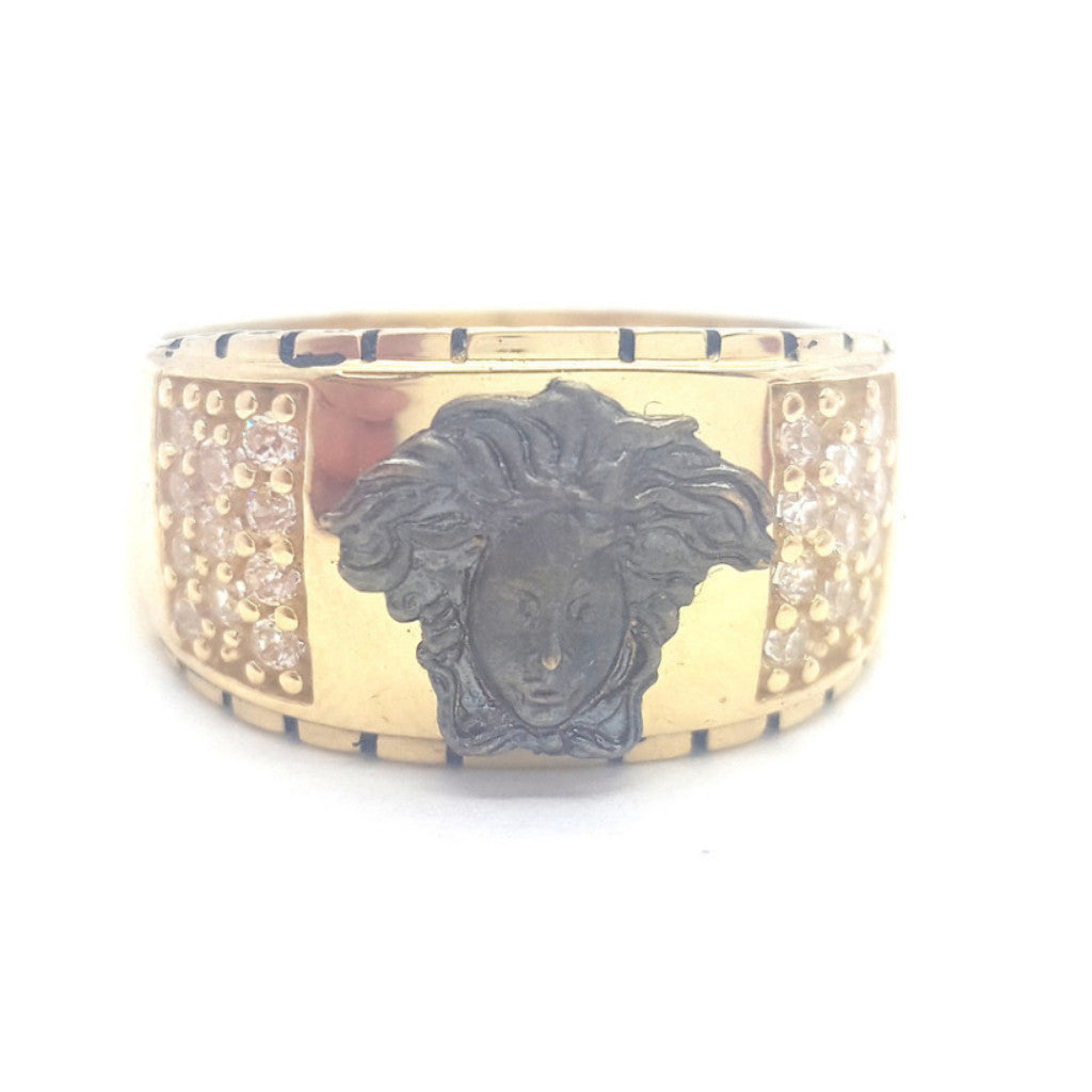 10k Yellow Gold Round Shape Pescara Cubic Zirconia Men Ring - Solid Gold Online