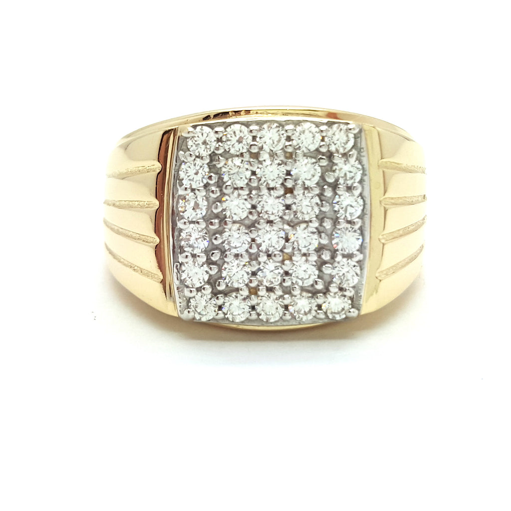 10k Yellow Gold Mohacs Round Shape Cubic Zirconia Men Ring - Solid Gold Online