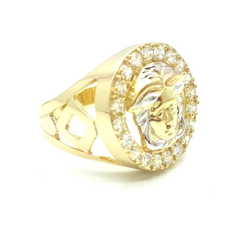 10k Yellow Gold Round Shape Vecses Cubic Zirconia Men Ring - Solid Gold Online