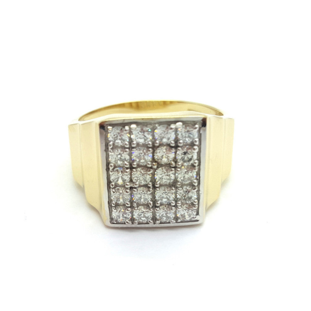 10k Yellow Gold Pomaz Round Shape Ring Cubic Zirconia Men Ring - Solid Gold Online