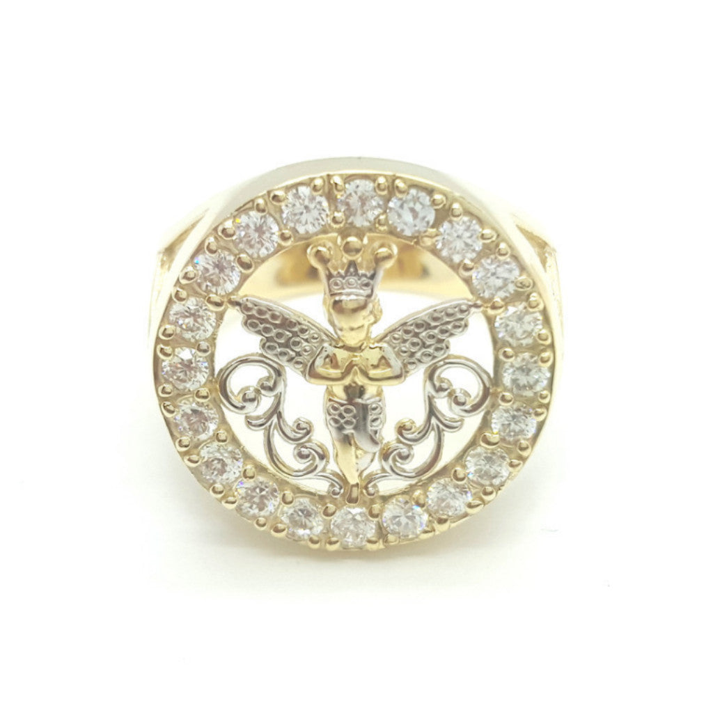 10k Yellow Gold Round Shape Aszod Cubic Zirconia Men Ring - Solid Gold Online