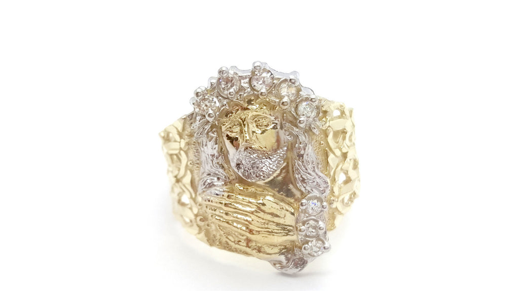 10k Yellow Gold Cubic Zirconia Encs Round Shape Men Ring - Solid Gold Online