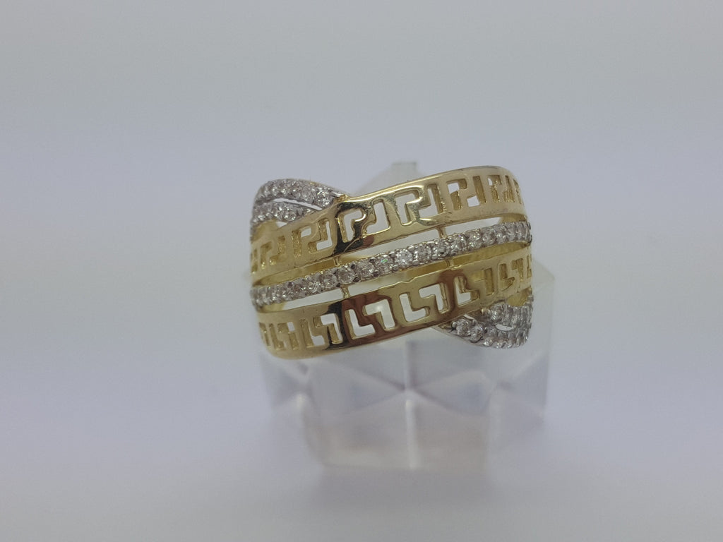 10K Yellow Solid Gold Diamond Cut Women Ring Donatella