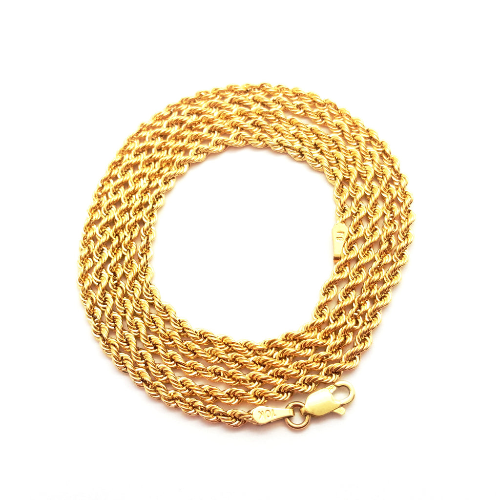 10K Yellow Gold Lobster Clasp Rope Chain 2.5 mm 16-34 inches