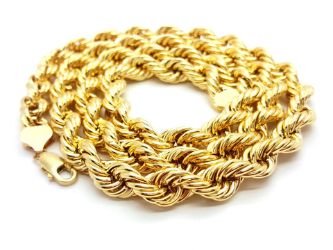 10K Yellow Gold Lobster Clasp Rope Chain 10 mm 16-32 Inches - Solid Gold Online