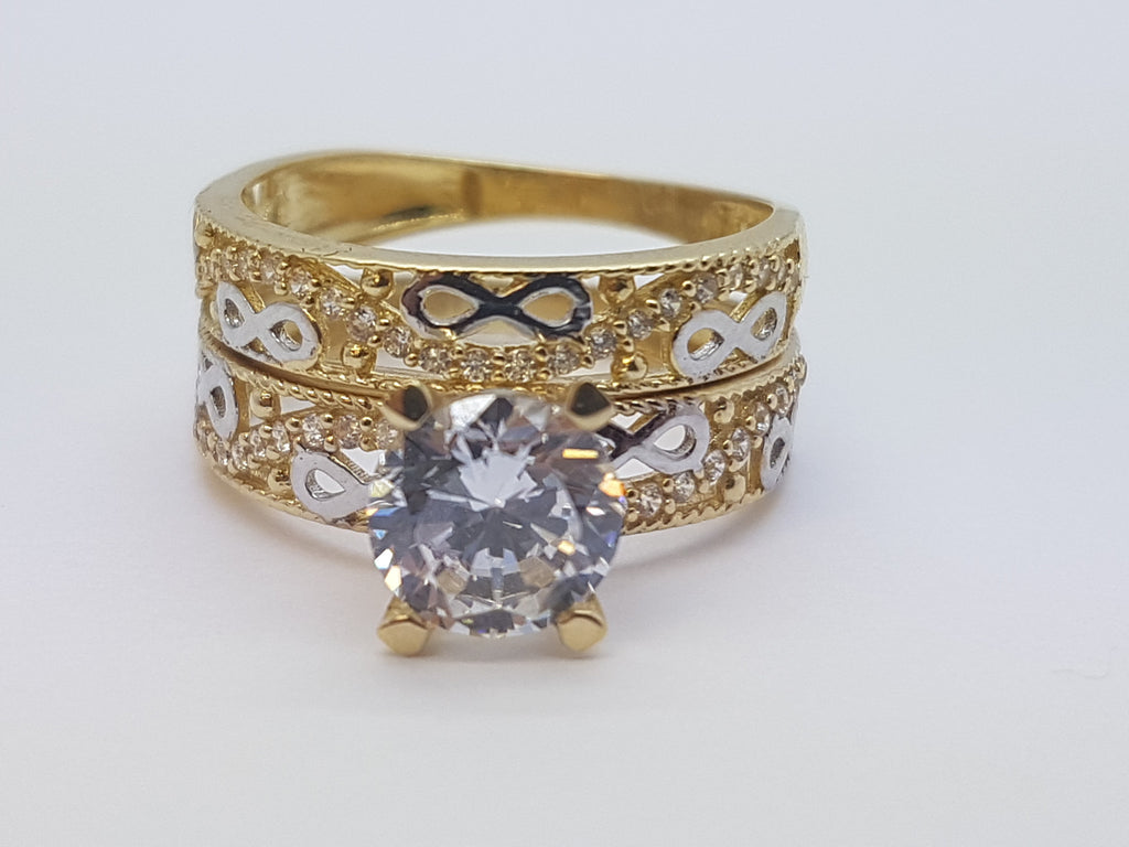 Real Velia 10K Yellow Solid Gold Engagement Diamond Women Ring