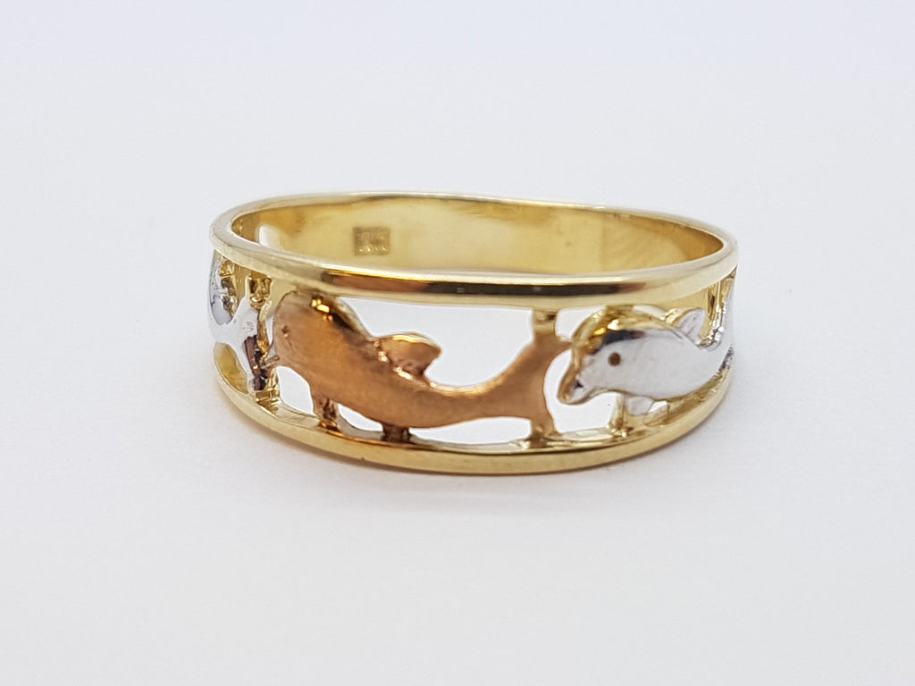 Delfina 10K Yellow Gold Dolphin Women Ring - Solid Gold Online