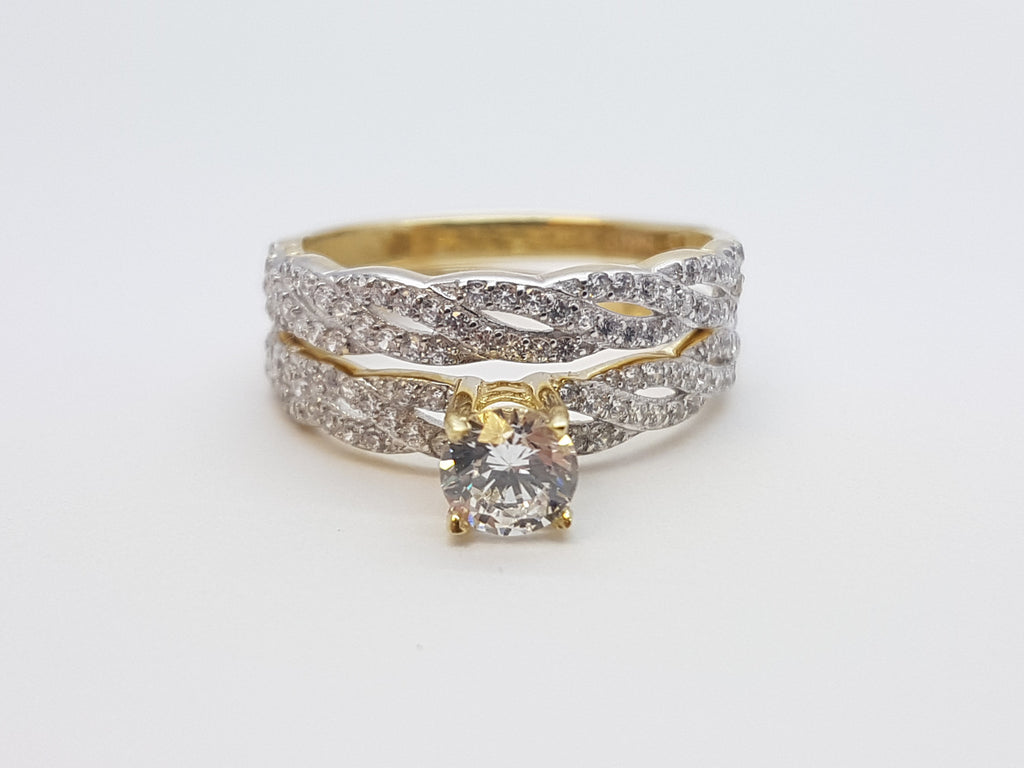 Elettra 10K Yellow Solid Gold Diamond Women Ring - Solid Gold Online