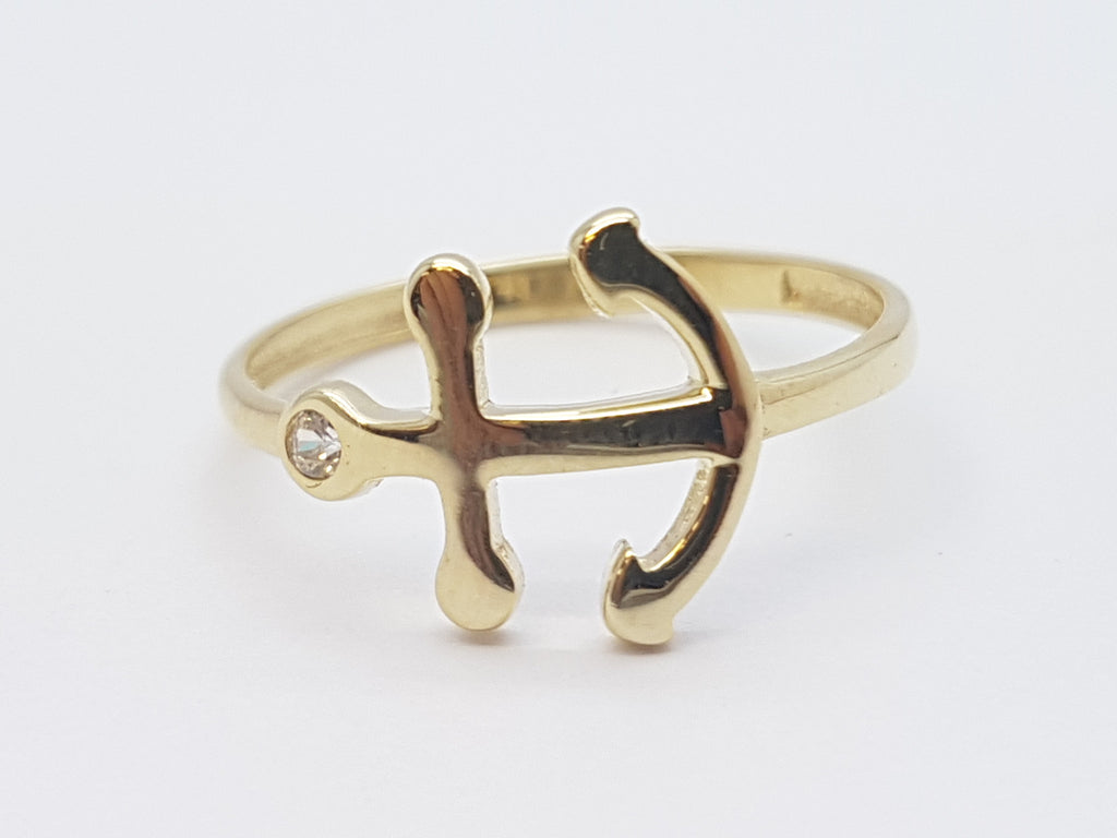 Catalina 10K Yellow Solid Gold Women Anchor Ring