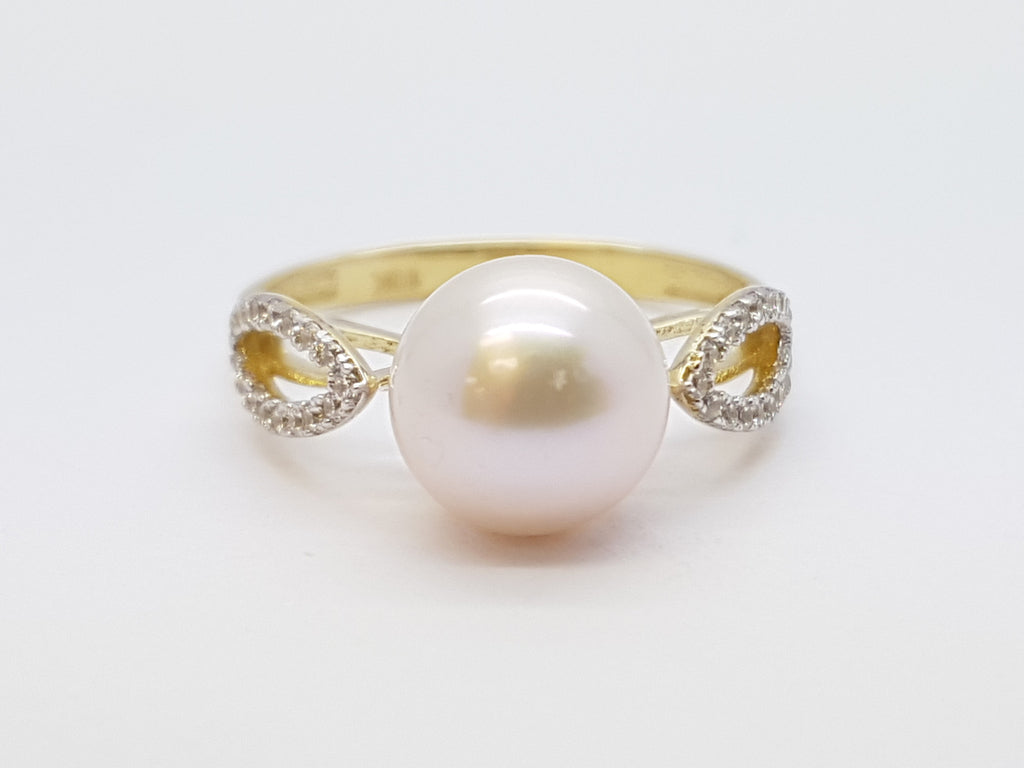 Colombina 10K Yellow Solid Gold Pearl Stone Women Ring
