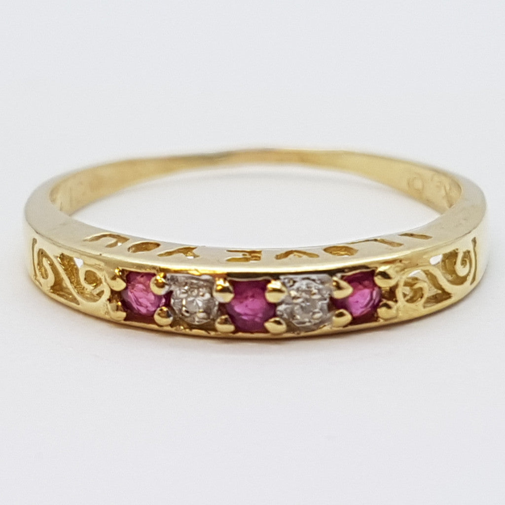 Donata 10K Yellow Solid Gold 3 Stones Fire Ruby Women Ring - Solid Gold Online