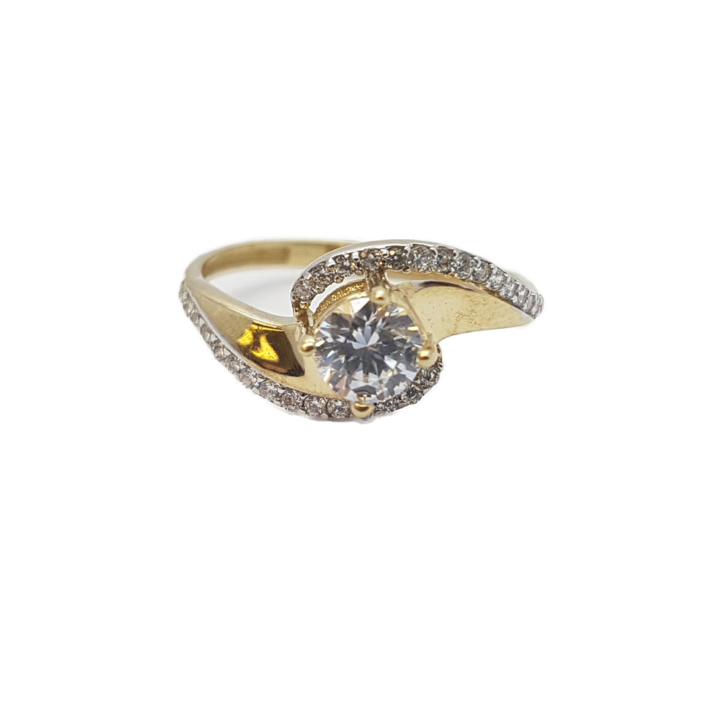 Celestina 10K Yellow Solid Gold Diamond Women Ring - Solid Gold Online