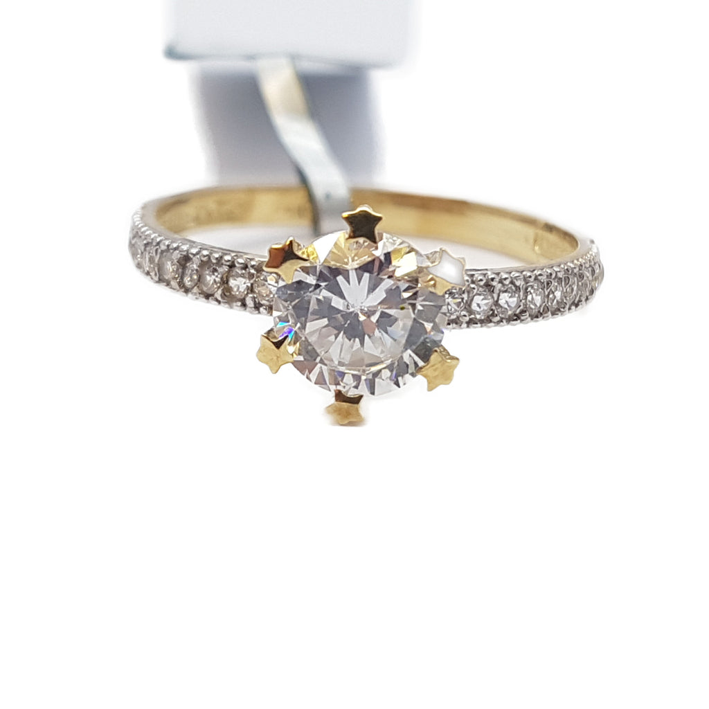 Capricia 10K Yellow Solid Gold Diamond Women Ring