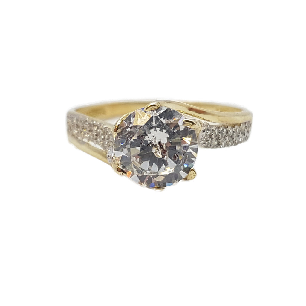 Clara 10K Yellow Solid Gold Diamond Women Ring - Solid Gold Online