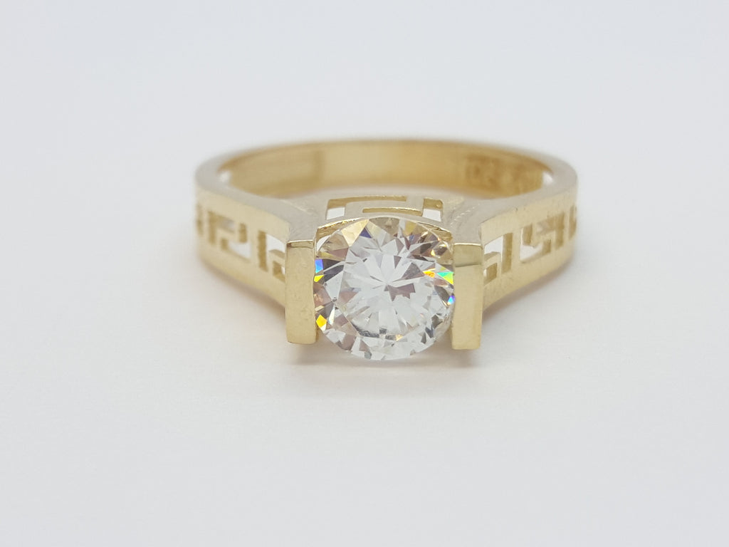 Elena 10K Yellow Solid Gold Diamond Engagement Women Ring