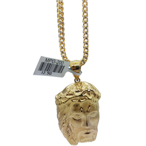 10K Real Yellow Gold Franco Chain & Jesus Heads Gold Christiano Pendant - Solid Gold Online
