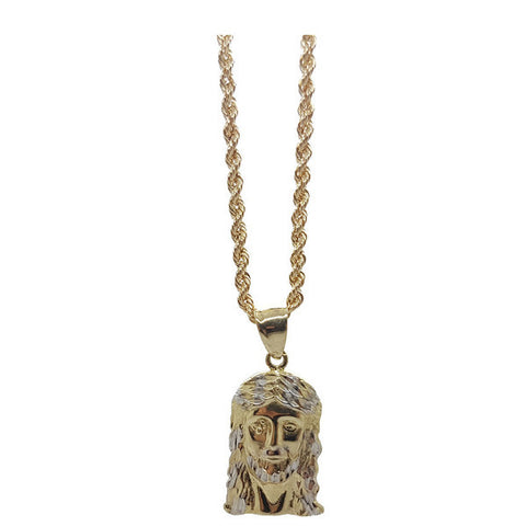 10K Solid Yellow Gold Rope Chain & Jesus Christ 10K Diamond Cut Charm Pendant - Solid Gold Online