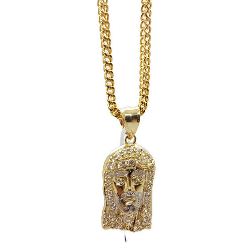 Franco Gold Chain Necklace Men Yellow 10K Pendant Jesus Christ