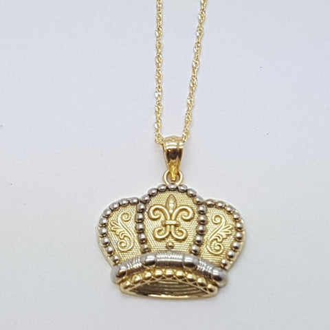 Real 10K Solid Yellow Gold Crown Pendant Necklace Set