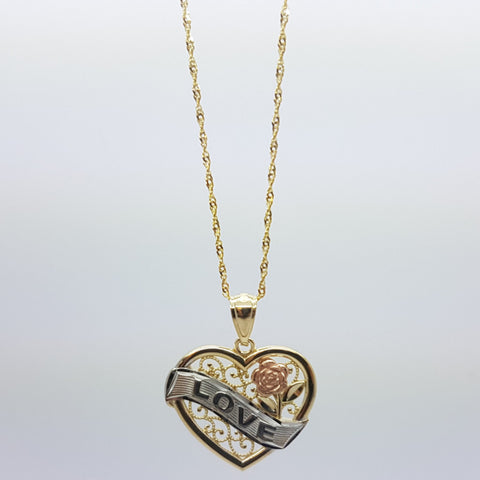 10K Solid Yellow Gold I Love You, Rose Pendant Necklace Set