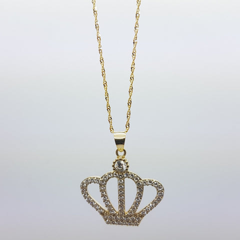 10K Solid Yellow Gold Rosemary Crown Pendant Necklace Set
