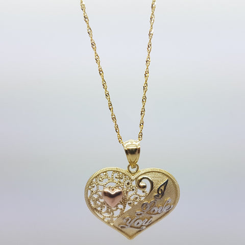 10K Solid Yellow Gold I Love You Pendant Necklace Set