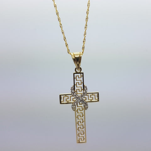 10K Solid Yellow Gold Juniper Cross Women Necklace Set