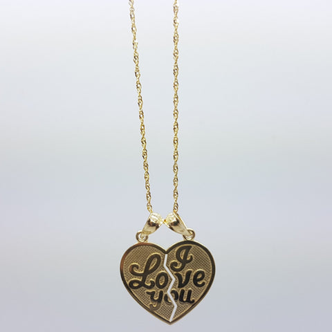 10K Solid Yellow Gold Companion Heart Pendant Women Necklace Set