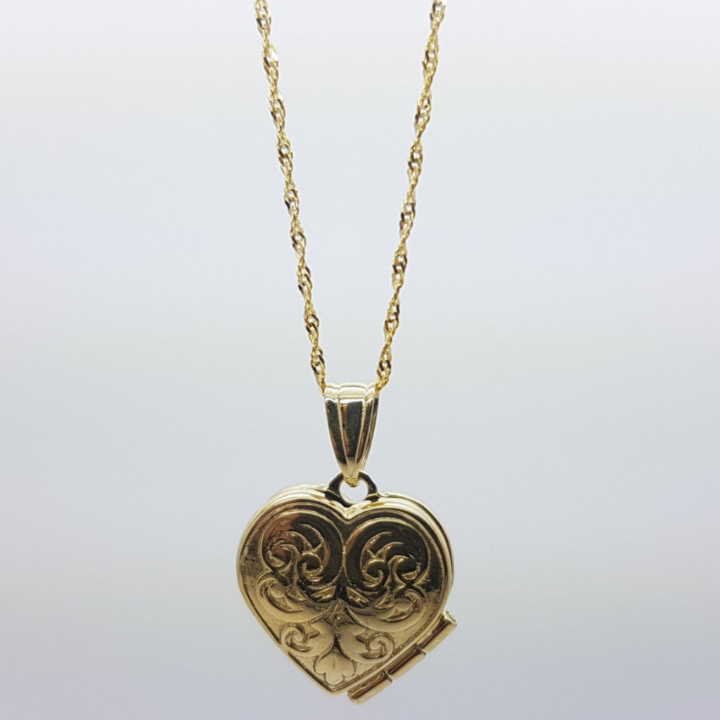 10K Solid Yellow Gold Cinnamon Heart Pendant Women's Necklace Set - Solid Gold Online