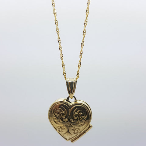 10K Solid Yellow Gold Cinnamon Heart Pendant Women's Necklace Set