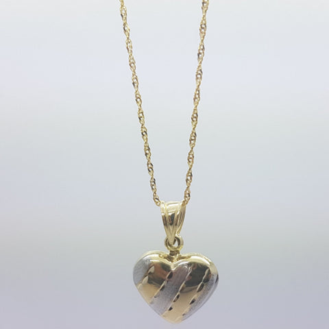10K Solid Yellow Gold Cassia Heart Pendant Women's Necklace Set