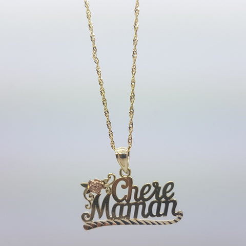 10K Solid Yellow Gold Chere Maman Pendant Women's Necklace Set