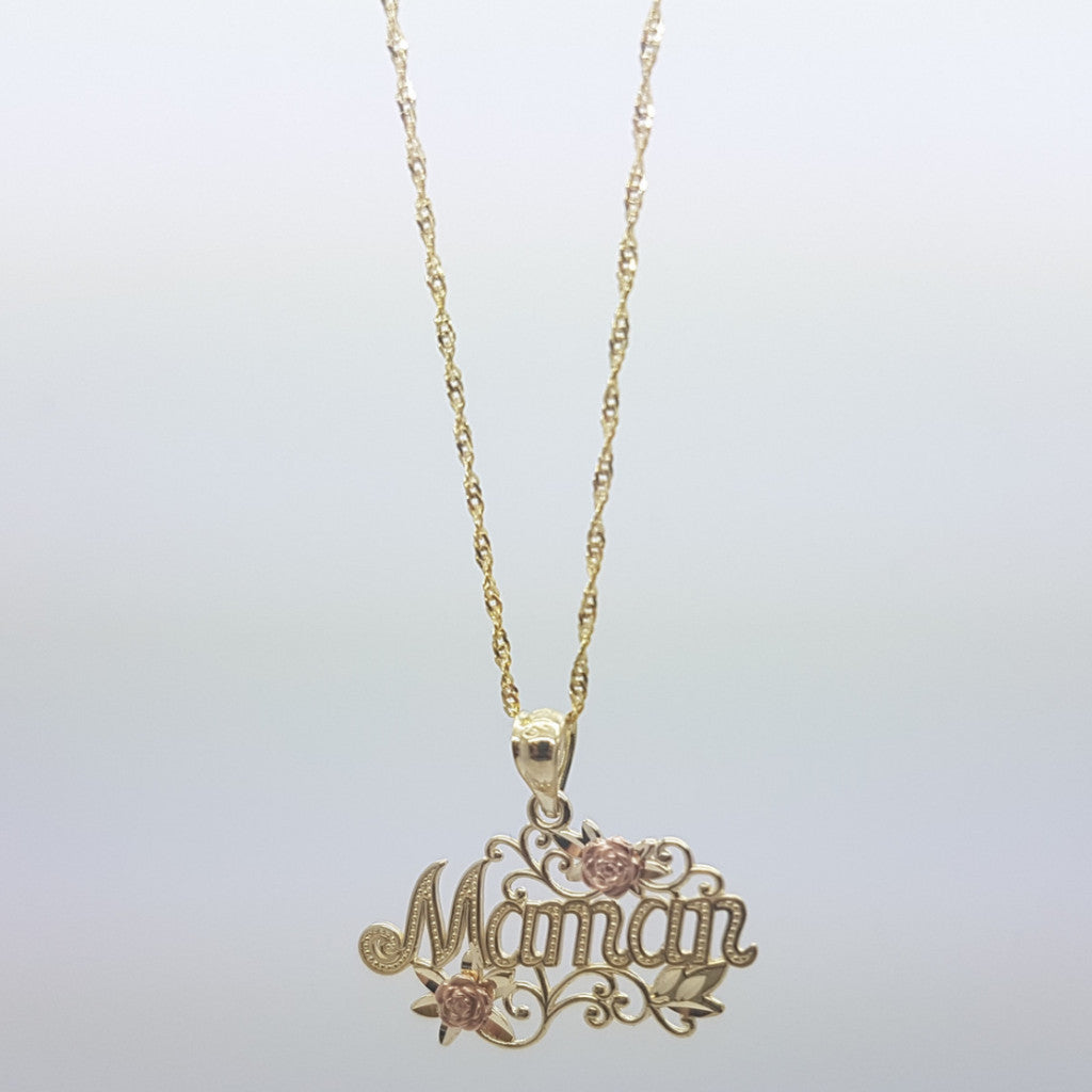 Product Detail. 10K Solid Yellow Gold Maman Pendant Women s Necklace Set 70bcbbad83
