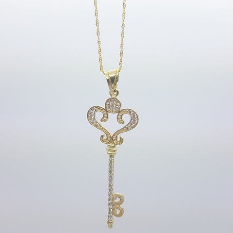 10K Solid Yellow Gold Heart Shape Key Pendant Women's Necklace Set