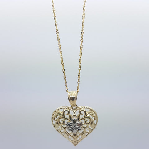 10K Solid Yellow Gold Penelope Heart Pendant Women's Necklace Set