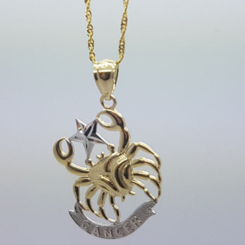 Real 10K High Polish Solid Yellow Gold Zodiac Sign Cancer Pendant 10K Rope Chain Necklace