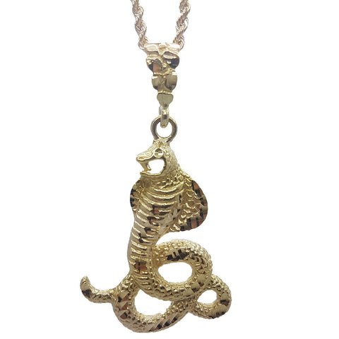 10K Yellow Gold Rope Chain Snake Necklace