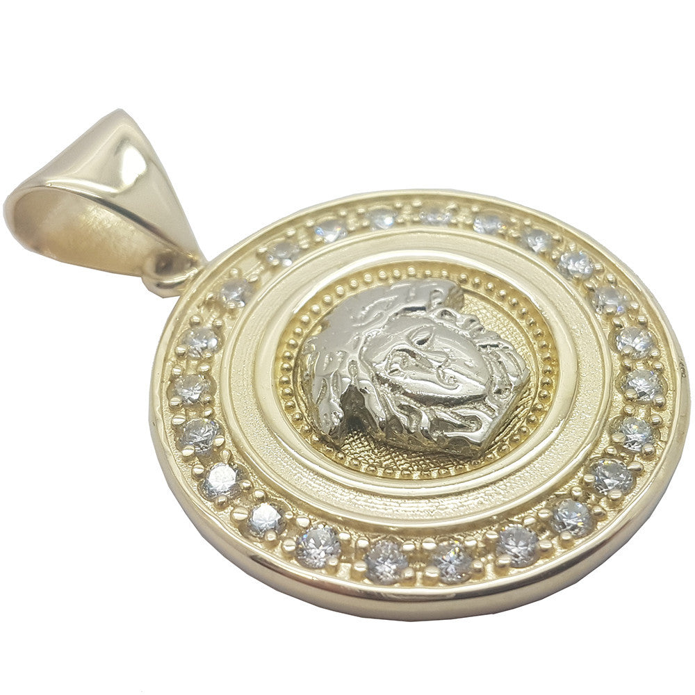 Micro Medusa Head With Round Gold Plate 10K Yellow Gold Men Pendant - Solid Gold Online