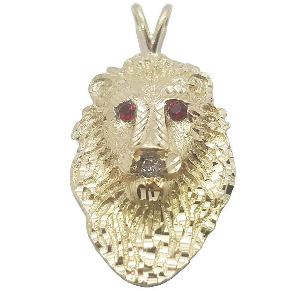 Long Skull With Red Emerald Eyes 10K Yellow Gold Men Pendant - Solid Gold Online